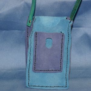 Handcrafted Blue Suede Cell Phone Pouch